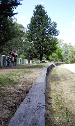An old platform on the Lilydale-Warburton trail is a good spot for a rest. Photo Helen Cronin