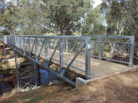 The new pedestrian, cycling bridge over Axe Creek