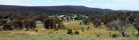 Heathcote township viewed from nearby hill