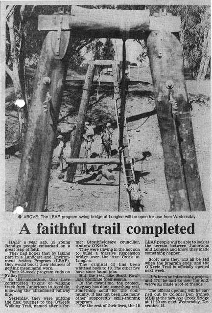 O'Keefe Rail Trail - Axe Crk bridge. Bendigo Advertiser Dec 1993