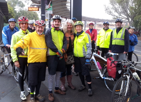 Riders ready to start the Bendigo to Rushworth section of Janet Rice's journey to Canberra