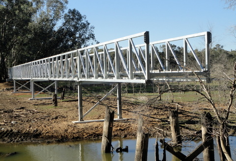 An April 2014 photo of the bridge construction at Mt Ida Creek. Photo Les Lewis