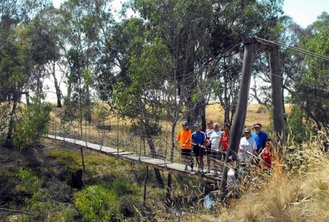 Former Axe Creek suspension bridge, Jan 2012. Photo. Garry Long