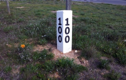 A replica VR marker post - O'Keefe Rail Trail