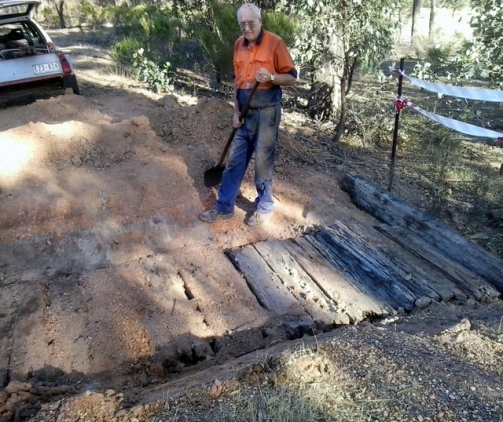 Former Victorian Railways timber culvert get a new life, from the efforts of Friends members. Photo: Steve Boswell