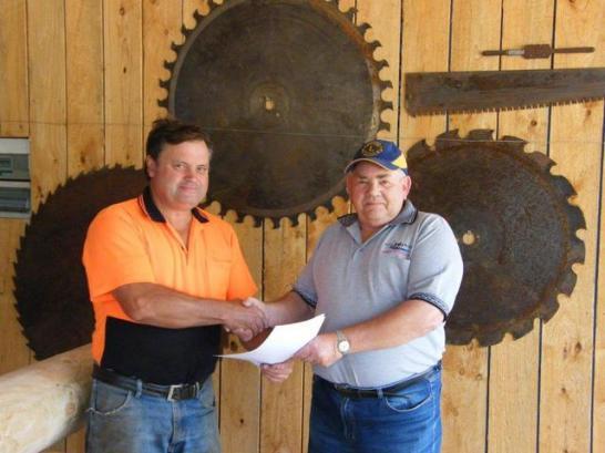 Heathcote pavilion contract for O'Keefe Rail Trail is signed by Joe McMahon and Daryl Dedman.