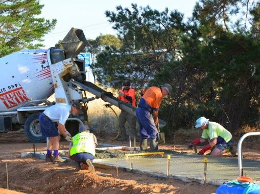 Concrete pour by the Friends members volunteer efforts. 13 Feb 2015. Photo: Les Lewis