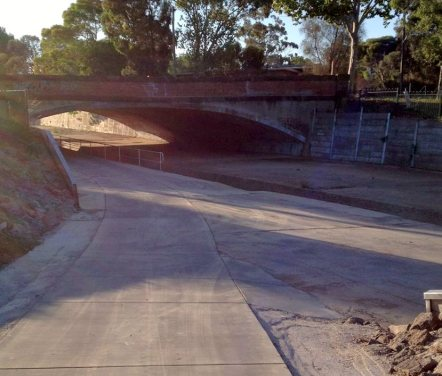The Bendigo Creek's new High St Bridge underpass at Golden Square