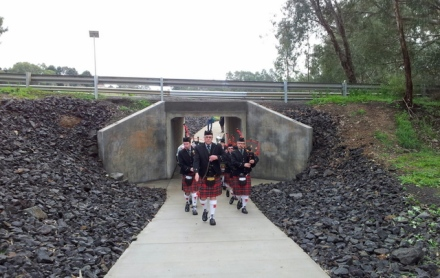 Axedale's 'Tunnel' (with Scottish pipers!). Photo: Garry Long