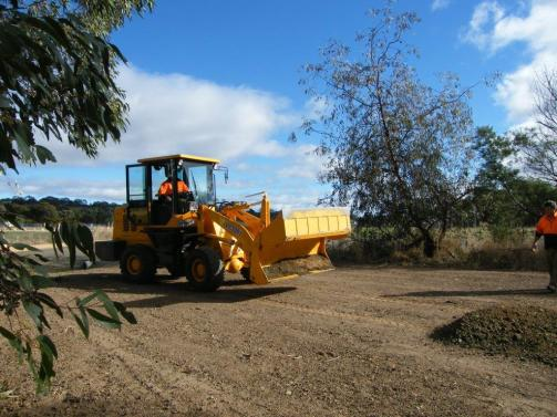 Construction begins for Rail Trail Pavilion in Heathcote. Photo: Daryl Dedman