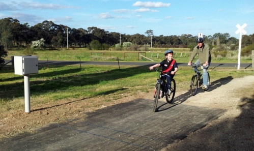 Sam and Stuart Fealy of Heathcote are countered on the O'Keefe Rail Trail in Junotoun