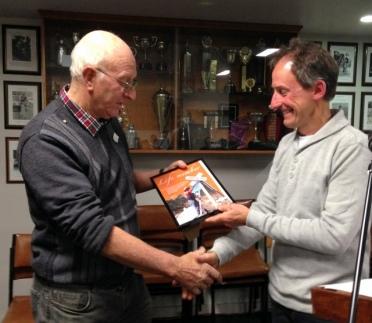 Ken Hanson recieves life membership from President Garry Long