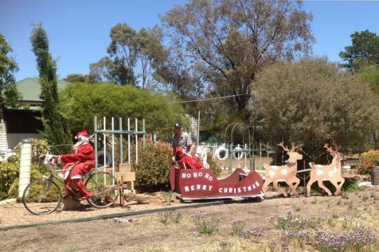 Santa's helpers on O'Keefe Rail Trail in Knowsley. Photo: Christine Scott