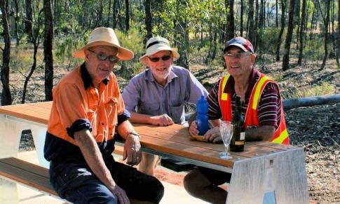 Ken, Richard and Lindsay testing out the new table-seat on O'Keefe Rail Trail. 16 Dec 2015 Photo: Les Lewis