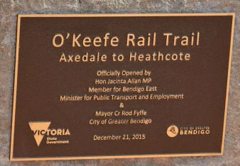 Plaque - O'Keefe Rail Trail Offical Opening 21 Dec 2015. Photo: Les Lewis