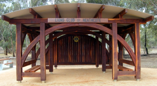 The end result - The Lions Club of Heathcote's O'Keefe Rail Trail shelter, 3 Jan 2016. Photo: Daryl Dedman