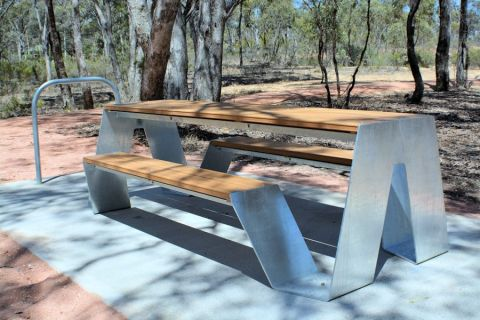 Strathfieldsaye Station site's table seats and bike racks. Photo: Les Lewis