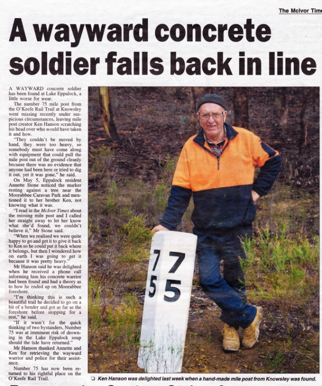 O'Keefe Rail Trail mile post is recovered. The McIvor Times 1 June 2016 edition