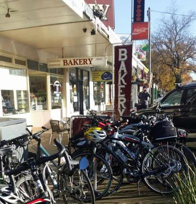 Spiral bike rack - High St Heathcote 11 June 2016. Photo Lyn Furneaux