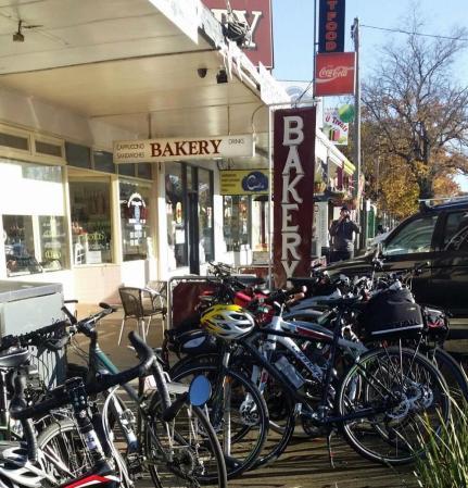 Spiral bike rack - High St Heathcote 11 June 2016. Photo Lyn Furneaux