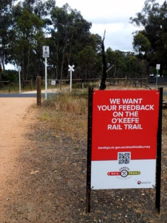 O'Keefe Rail Trail feedback survey sign. Photo: Garry Long