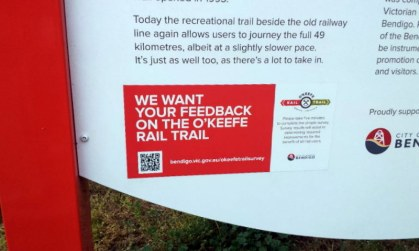 O'Keefe Rail Trail feedback survey request. Photo: Garry Long
