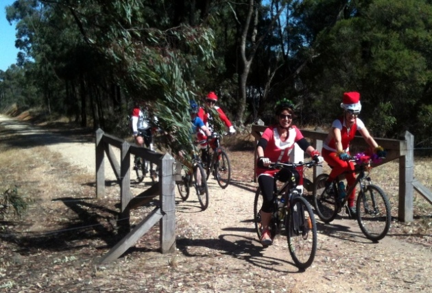 Santa's Helpers cycle the O'Keefe Rail Trail. 17 Dec 2016. Photo: K. Hanson