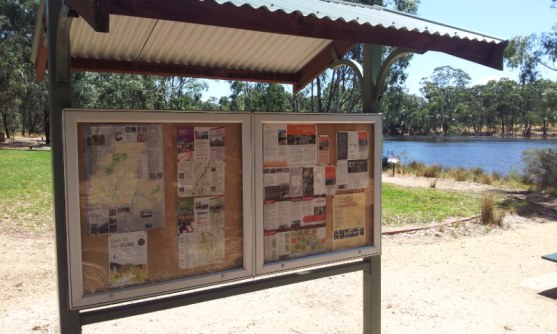 O'Keefe Rail Trail information displayed on notice board, Kennington Reservoir, Bendigo. Photo: G.Long