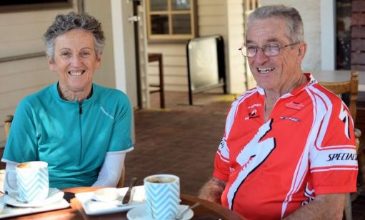 Sheryl and Phil Bennett enjoy a coffee, riding the O'Keefe Rail Trail. Photo Les Lewis