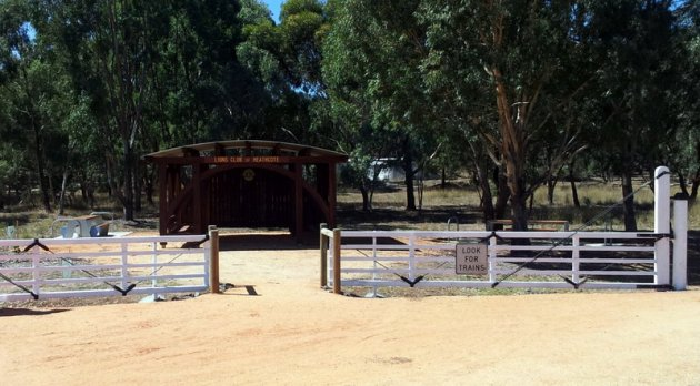 Railway gates provide access to Heathcote Lions Club's Rail Trail Shelter. Photo: Garry Long