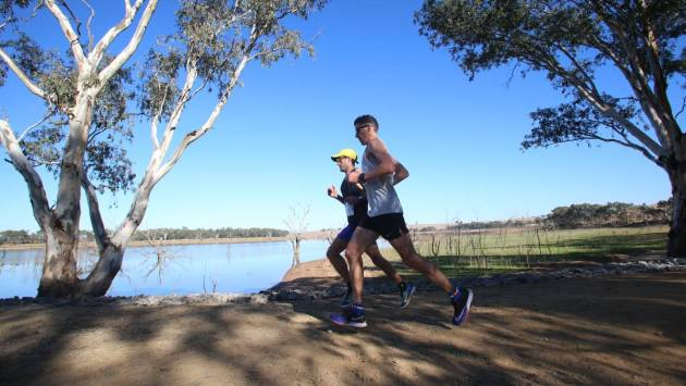 O'Keefe Rail Trail Marathon runners cross Lake Eppalock. Photo Bendigo Advertiser