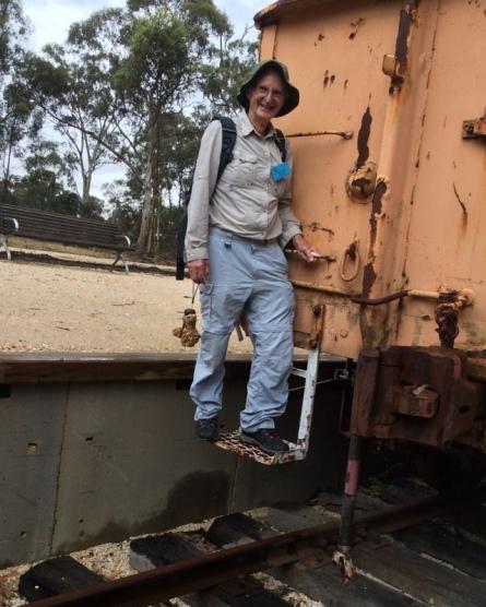 U3A member Graeme Balaam inspects the railway wagon. 15 Dec 2018